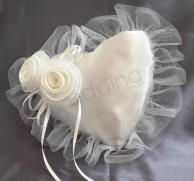 Wedding Ring Cushion - Heart Shape with Roses - Wedding Wish Image 1