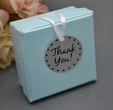 Wedding Metal Thank You Tags x 12 with Ribbon - Wedding Wish Image 1