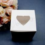 White Cupcake Box with Heart Viewing Window x 10 image