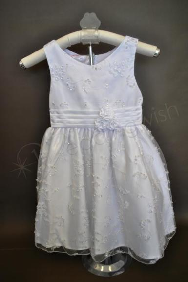 Wedding  Beaded Flower Girl Dress with Rosettes - Ivory or White Image 1