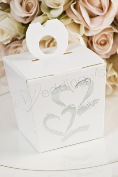 Wedding Silver Hearts White Favour Box x 12 - Wedding Wish Image 1