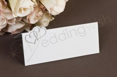 Wedding Silver Hearts Placecard - Tent Fold x 24 pieces - Wedding Wish Image 1