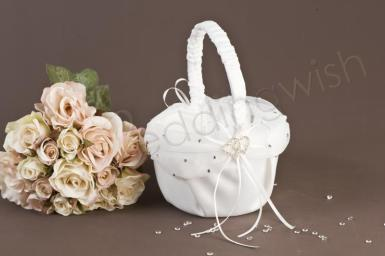 Wedding  Satin and Chiffon Basket with Diamante Hearts Image 1