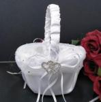 Satin and Chiffon Basket with Diamante Hearts - White or Ivory image