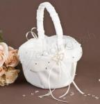 Satin and Chiffon Basket with Diamante Hearts - White image