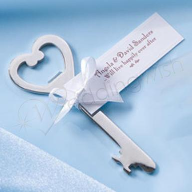 Wedding Heart Bottle Opener with Ribbon and Card - Wedding Wish Image 1