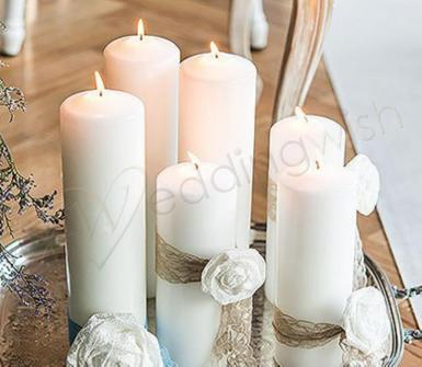 Wedding  Round Pillar Candles Thick Medium Image 1