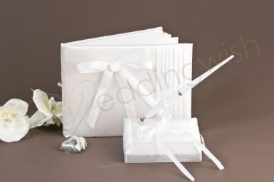 Wedding Classic Guest Book and Pen Set with Pleats and Bows - Wedding Wish Image 1