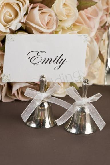 Wedding Silver Plated Deluxe Kissing Bells with Bow X 4 - Wedding Wish Image 1
