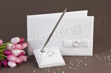 Wedding  Pure Elegance in Wedding White Satin Guest Book Image 1