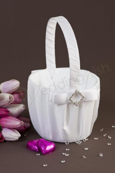 Wedding Pure Elegance in Wedding White Satin Flowergirl Basket - Wedding Wish Image 1