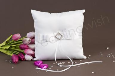 Wedding Pure Elegance in Wedding White Satin Ring Pillow - Wedding Wish Image 1