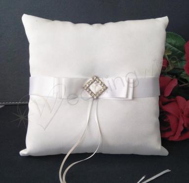 Wedding Ring Cushion - Pure Elegance Pillow with Diamante - Wedding Wish Image 1