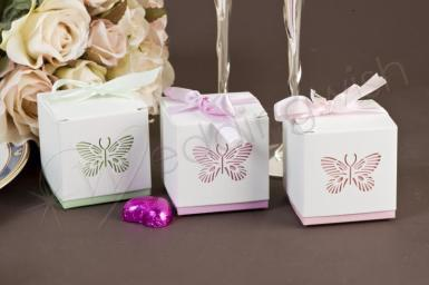 Wedding Laser Cut Butterfly Bomboniere Box with Ribbon and Charm x 10 - Wedding Wish Image 1