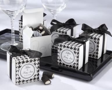 Wedding Black and White Houndstooth Boxes with Ribbon and Sticker x 10 - Wedding Wish Image 1
