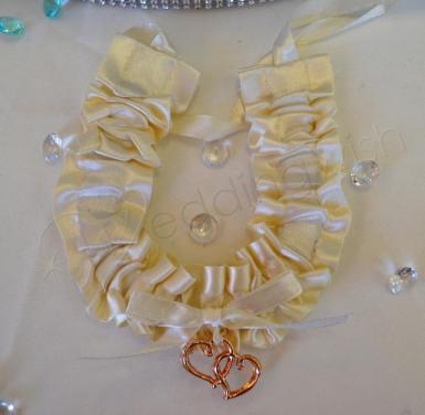 Wedding  Ivory and Gold Satin Horseshoe Charm Image 1