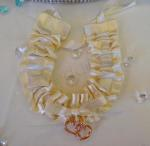 Ivory and Gold Satin Horseshoe Charm image