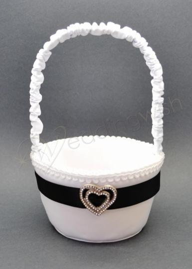 Wedding Black and White Flower Girl Basket with Diamante Heart - Wedding Wish Image 1