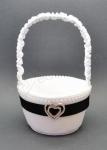 Black and White Flower Girl Basket with Diamante Heart image