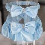 Deluxe Blue Satin Wedding Garter with Rhinestones image
