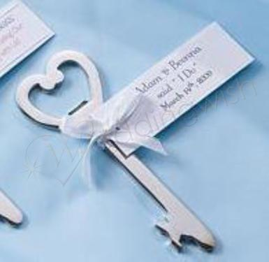Wedding Key Shaped Bottle Opener Favour Kit (18 in set) - Wedding Wish Image 1