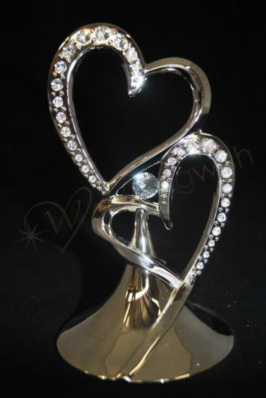 Wedding Double Hearts Metal Cake Topper with Diamantes - Wedding Wish Image 1