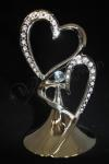 Double Hearts Metal Cake Topper with Diamantes image