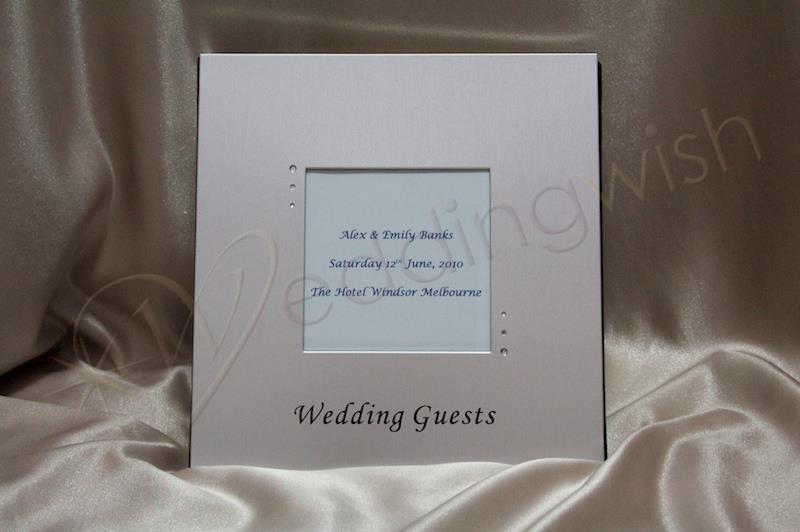Wedding Brushed Metal Guest Book With Photo Insert And Diamantes