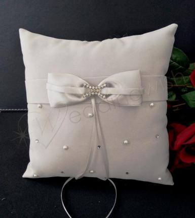 Wedding Ring Cushion - Silver Platinum by Design Ring Pillow - Wedding Wish Image 1