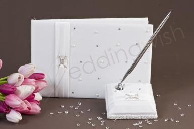Wedding  Duchess White Guest Book and Pen Set Image 1