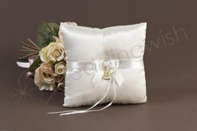 Wedding Ivory and Gold Hearts Ring Pillow - Wedding Wish Image 1