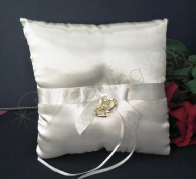 Wedding Ring Cushion - Ivory and Gold Hearts Pillow - Wedding Wish Image 1