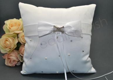 Wedding Duchess Ring Pillow in White - Wedding Wish Image 1