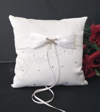 Wedding Ring Cushion - Duchess Satin Ring Pillow in White - Wedding Wish Image 1