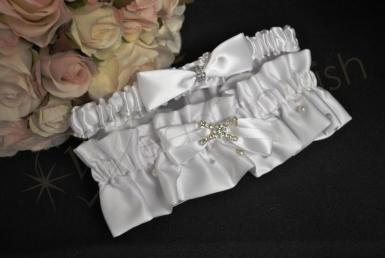 Wedding Duchess Satin Two Piece Garter in White - Wedding Wish Image 1