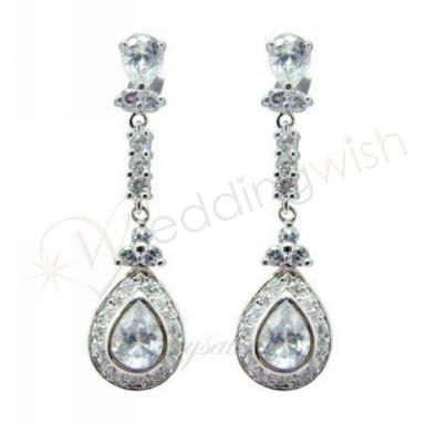 Wedding Elegant Silver Drop Crystal Earrings - Wedding Wish Image 1