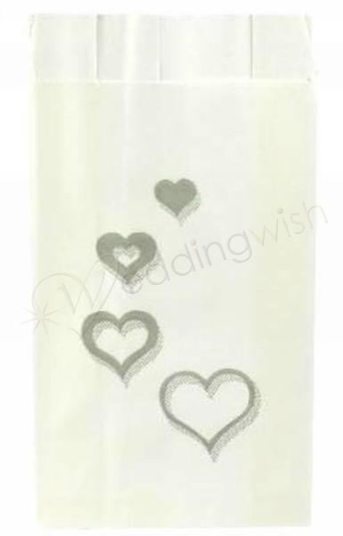 Wedding Cascading Silver Hearts Cake Bags x 25 - Wedding Wish Image 1