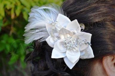 Wedding Feather Hair Clip with Satin Flowers - Wedding Wish Image 1
