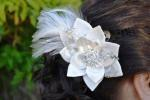 Feather Hair Clip with Satin Flowers image