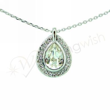 Wedding Silver Drop Diamante Necklace - Wedding Wish Image 1
