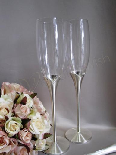 Wedding  Silver Stem Toasting Glasses with Diamante Accent Image 1