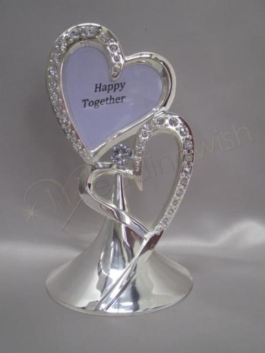 Wedding Double Hearts Metal Cake Topper with Photo Insert - Wedding Wish Image 1