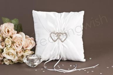 Wedding  Crystal Hearts Ring Pillow Image 1