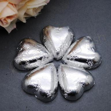 Dolci Doro Silver Heart Shaped Chocolates x 100 Solid Silver Heart Image 1