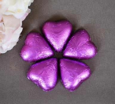 Wedding Purple / Mauve Heart Shaped Chocolates x 100 - Wedding Wish Image 1