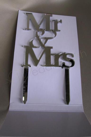 Wedding Mr and Mrs Mirror Cake Topper - Wedding Wish Image 1