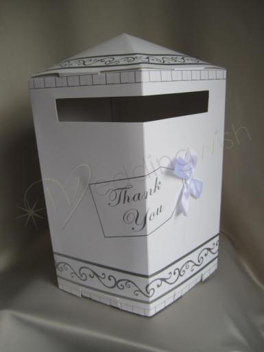 Wedding Cardboard Wishing Well Box with Bow - Wedding Wish Image 1