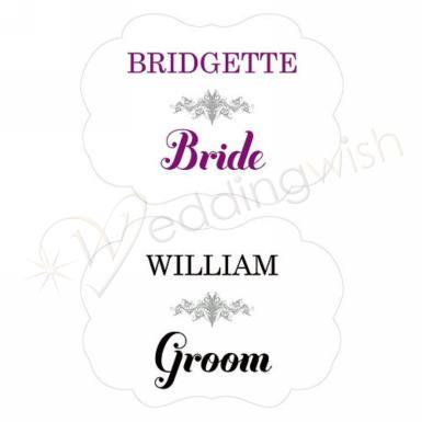 Wedding Personalized Bride and Groom Paper Chair Markers B - Wedding Wish Image 1