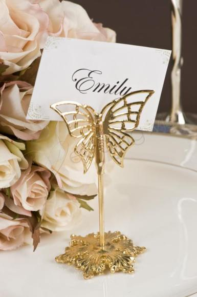 Wedding  Gold Butterfly Place Card Holders X 4 Image 1