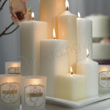 Wedding Square Pillar Candles Small - Wedding Wish Image 1